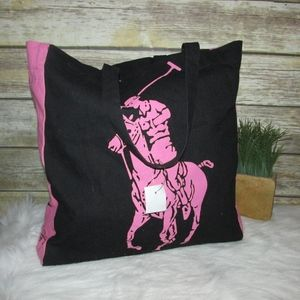 NWT Ralph Lauren Pink Pony Canvas Tote Bag